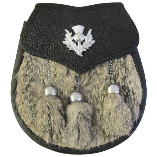 Tartanista uomo-Sporran da kilt scozzese a cardo e pelliccia di coniglio grigia