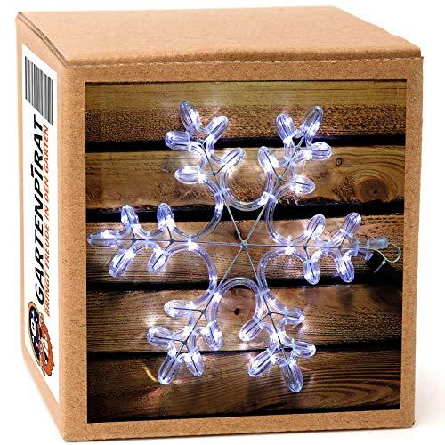 Schneeflocke Ø 35cm kaltweiß beleuchtet blinkend Leuchtstern für Weihnachten außen Fenster Strom