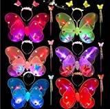 VPlus 3 Juegos de Luces LED Luminosas para Disfraz de Hada Princesa cumpleaños Halloween Fiesta Suministros (1 Juego Contiene alas de Mariposa + Varita + Diadema)