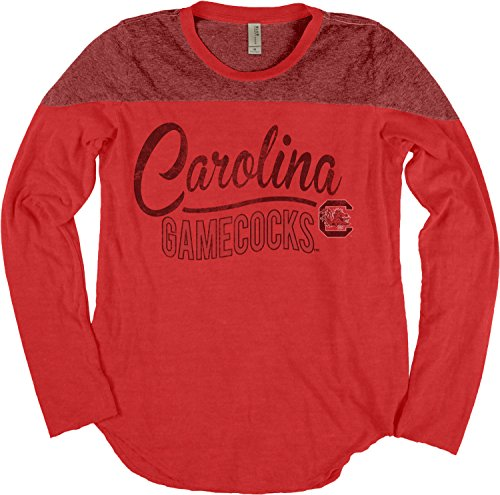 South Carolina Damen T-shirt (Blue 84 NCAA South Carolina Fighting Gamecocks Damen-T-Shirt, langärmelig, Yoke Tee, Größe M, Schwarz)