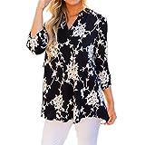 Damen Freizeit Lange Ärmel V-Ausschnitt Blumen Bluse Elegante Frauen Tunika Oberteile Vintage Hemd T-Shirt (Schwarz 2, L/EU 42-44)