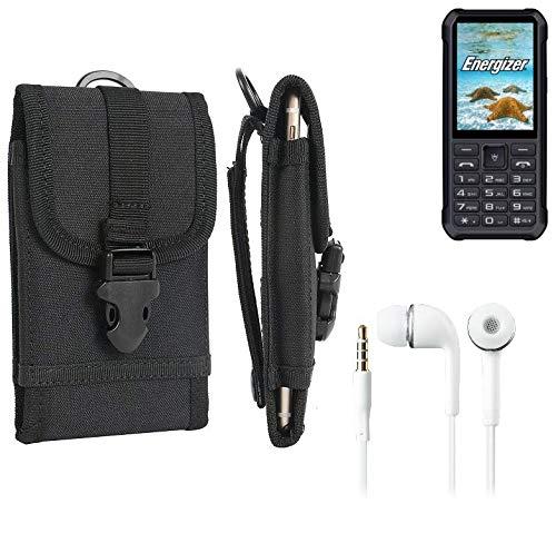 K-S-Trade Schutzhülle für Energizer H20 Gürteltasche Gürtel Tasche extrem robuste Handy Schutz Hülle Tasche Outdoor Handyhülle schwarz 1x + Kopfhörer