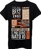 T-Shirt COMPLEANNO IDEA REGALO I MIGLIORI EVENTI DEL 1981 ANNO DI NASCITA BIRTHDAY NEWS GIORNALE VINTAGE - EVENTI Maglietta iMage - Donna-S-NERA