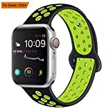 VODKER para Apple Watch Correa, Silicona Suave Reemplazo Sport Banda para 38mm 42mm iWatch Serie 3/ Serie 2/ Serie 1, Nike+, Sport, Edition - Verde Negro 38mm-M/L