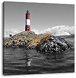 Leuchtturm mit Robben auf kleiner Insel im Meer Schwarz/Weiß, Format: 40x40 auf Leinwand, XXL riesige Bilder fertig gerahmt mit Keilrahmen, Kunstdruck auf Wandbild mit Rahmen, günstiger als Gemälde oder Ölbild, kein Poster oder Plakat