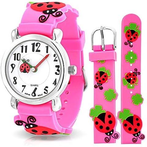 Bling Jewelry Reloj para Niñas Color Rosa con Mariquitas y Tréboles