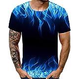 Camiseta para Hombre,Verano Manga Corta Hombre 3D Impresión Moda Diario Casual T-Shirt Camiseta Jaspeada de Cuello Redondo Suave básica Tops Camiseta vpass