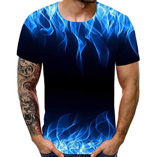 POIUDE Herren Blaue Flamme 3D Druck Rundhals Casual Strassenmode Sport Kurzarm T-Shirt Oberteil(Schwarz, L)