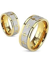 Coolbodyart Anillo De Acero Inoxidable oro amarillo 6mm ancho Banda plateada cepillado con cruces celtas disponible Tamaño del anillo 47 (15) - 69 (22)