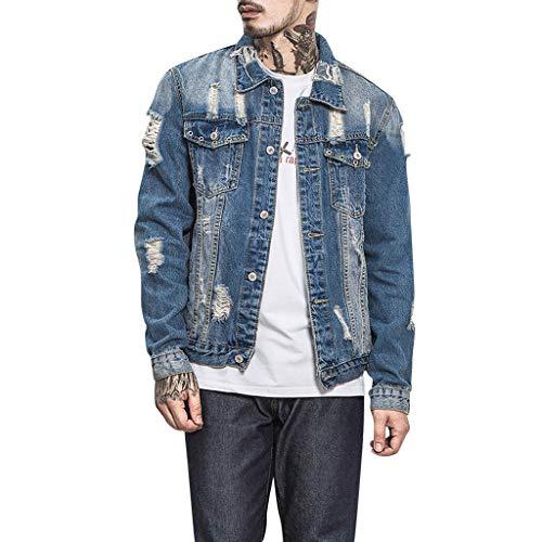 R-Cors Western - Jean Jacke - Straight Fit - Kragen Klassisches Hemd - Lange Ärmel - Man Button Einfarbige Jean Jacke Vintage Tops Blusenmantel - Western Hemd-jacke