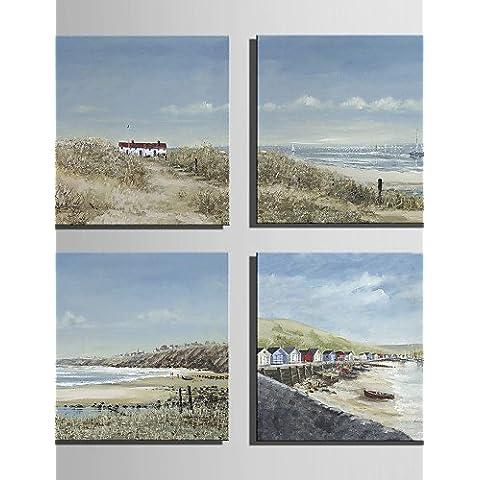 OFLADYH ® mini formato e-pittura a olio domestica moderna balneare View Cottage mano puro disegnare pittura decorativa frameless , 10