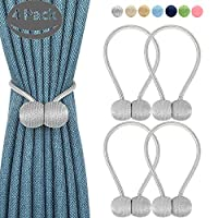 4 Pcs Set Magnetic Curtain Tiebacks 2 Pair-Magnetic Curtain Straps, Buckle Strong Magnetic Clips Rope Straps Indoor Office Window Bracket Decore