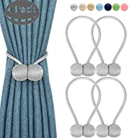 4 Pcs Set Magnetic Curtain Tiebacks 2 Pair-Magnetic Curtain Straps, Buckle Strong Magnetic Clips Rope Straps Indoor Office W