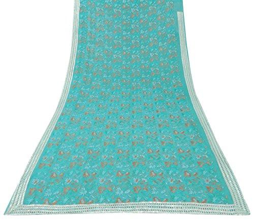 Vintage indische Kleid gestickte Blau Saree Georgette-Material Sari Gebrauchte (Bollywood Dekorationen Fuß)