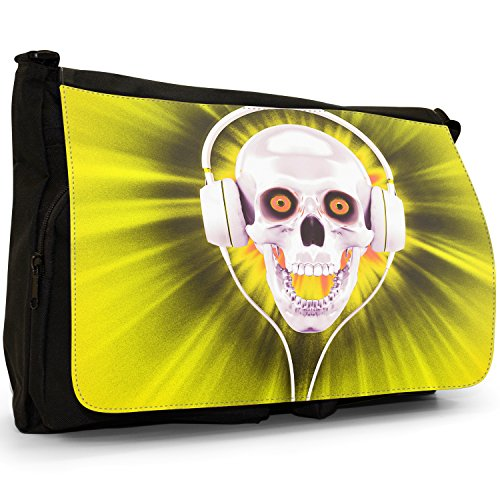 Teschio con cuffie–Borsa Tracolla Tela Nera Grande Scuola/Borsa Per Laptop Yellow Skull With Headphones