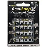 AccuPower AL2600-4 - Pack de 4 pilas recargables AA (NiMh, 2600 mAh, 1.2 V)