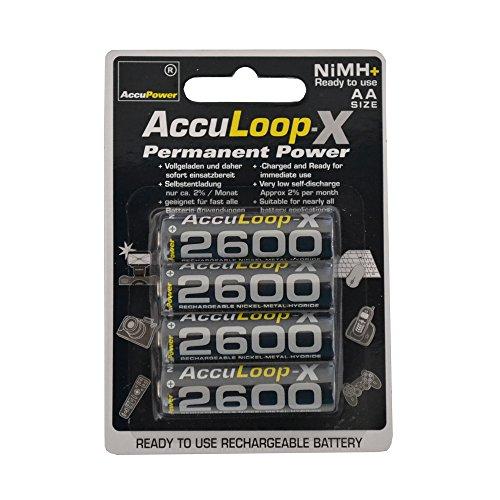 AccuPower AL2600-4 AccuLoop-X AA/Mignon/LR6 Akku mit geringer Selbstentladung (2600mAh, 4er Pack)