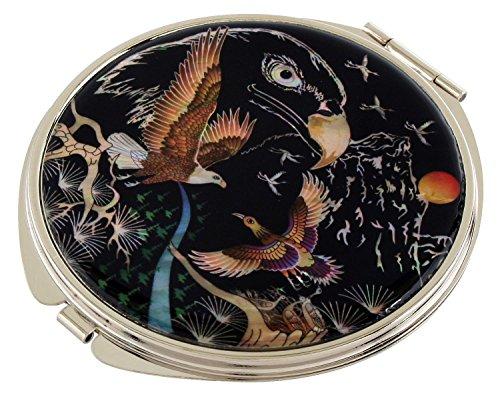 Mère de perle motif aigle Double miroir de poche compact Sac à main Loupe de maquillage beauté