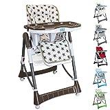 Monsieur Bébé  Chaise haute enfant pliable, réglable hauteur, dossier et tablette - 6 coloris - Norme NF EN14988