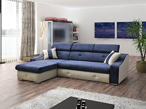 Ecksofa Sofa Eckcouch Couch mit Schlaffunktion und Bettkasten Ottomane L-Form Schlafsofa Bettsofa Polstergarnitur - APOLLO (Ecksofa Links, Blau)