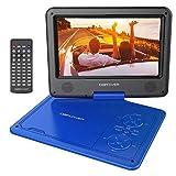 9.5'' Tragbarer DVD-Player mit Wiederaufladbarer Batterie, Schwenkbaren Bildschirm, Unterstützt SD-Karte und USB, mit Spiele-Joystick, Auto-Ladegerät-Blau