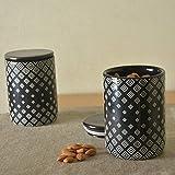 StyleMyWay Black Multi Utility Kitchen Storage Airtight Ceramic Jar Set - Set of