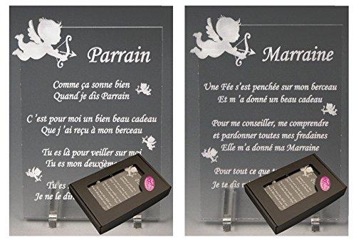 1 Poème Parrain + 1 Marraine - Ange - Baptême & Communion