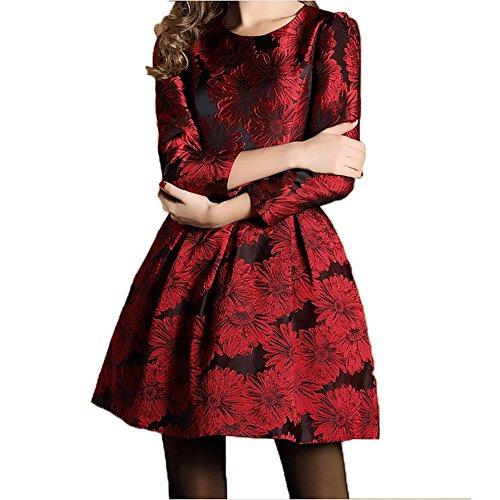 ZQQ vita stile signora europeo di primavera era sottile nove punti manica girocollo cerniera rosso Jacquard Dress , red , l