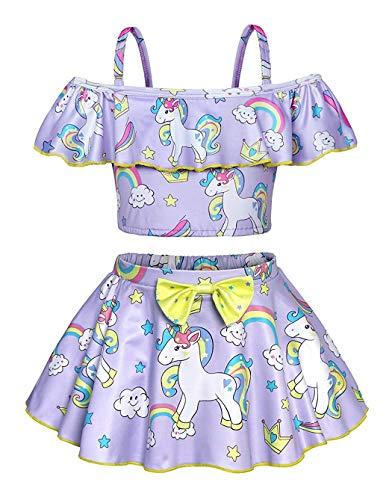 Traje de baño de Dos Piezas con diseño de Unicornio para niñas y niños Morado Morado 2-3 Años