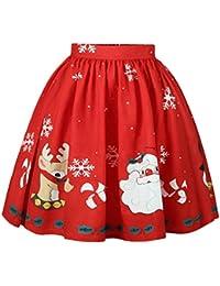 VRTUR Damen Christmas Dress Weihnachten Rock Weihnachtsmann Schneeflocke  Gedruckt Eine Linie Rock Party Dress ec270f8417