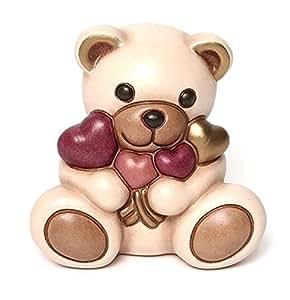THUN Animali Teddy con Mazzo di Cuori, Ceramica, Variopinto
