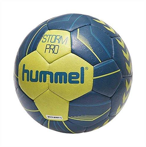 Hummel IHF Handball für Profi Sport & Training – Größe 2 oder 3 – STORM PRO HB – Harz Trainingsball in Neon Blau & Gelb – Ball mit Air-Trap-Ventil