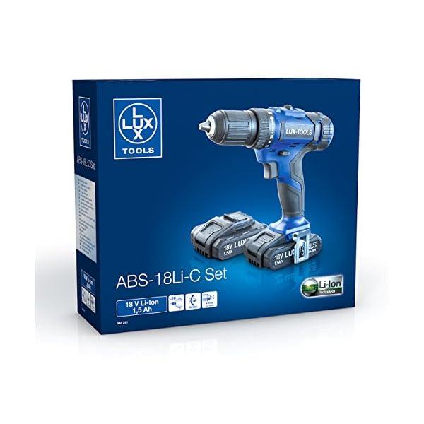 LUX-TOOLS ABS-18Li C Akku-Bohrschrauber Set mit 2-Gang Getriebe & 13mm Schnellspann-Bohrfutter inkl. Koffer & 2 Akkus…