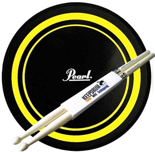 """Pearl PDR-08P Practice Pad Übungspad 8"""" gelb/schwarz + Keepdrum Drumsticks"""