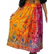 Gonna lunga colorata da donna, stile indiano/bohémien/hippie/gipsy, con paillettes, estiva, prendisole, maxi gonna per la danza del ventre