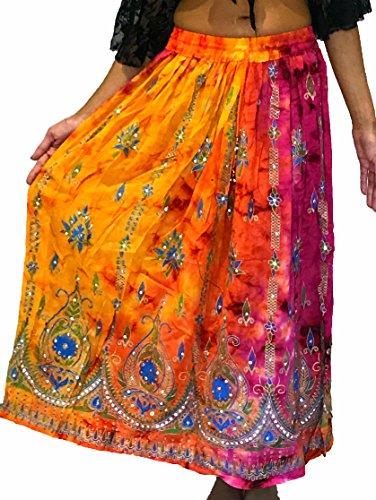 Colorido Womans Ladies indio Boho Hippie Gypsy verano vestido maxi verano de lentejuelas danza del vientre falda, Mujer, color 16, tamaño Regular
