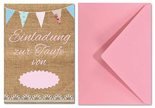 Einladungskarten Set zur Taufe für Mädchen im Vintage Look/Einladung in Pastell/süße Einladungen für Tauffeier 8 Stück im Set (Taufeinladungen Vintage rosa)