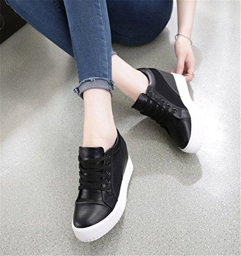 Wealsex Baskets Compensées Femme PU Cuir Mesh Dentelle Sneaker Chaussures de Tennis noir mesh