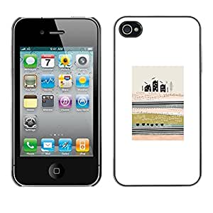 Omega Covers - Snap on Hard Back Case Cover Shell FOR Apple iPhone 4 / 4S - Abstract Modern Art City Field Meaning