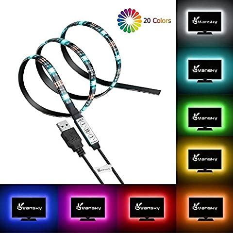 Vansky® LED TV Backlight for HDTV/Gaming PC LED Strips Home Multi Color RGB LED Neon Accent TV Lighting for Flat Screen TV Accessories, Desktop PC (Reduce Eye Fatigue and Increase Image
