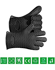 MasterStor Silicone Insulated Heat Resistant Oven Gloves - Barbecue Oven Mitt Cooking Gloves - Protect Your Hands Kitchen Use - Sold by Pair