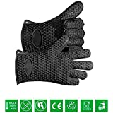 MasterStor Silicone Insulated Heat Resistant Oven Gloves - Barbecue Oven Mitt Cooking Gloves - Protect Your Hands Kitchen Use - Sold by Pair (Black)