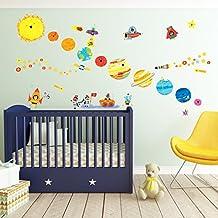 Decowall DW-1707 Planeta Espacio El Universo Vinilo Pegatinas Decorativas Adhesiva Pared Dormitorio Salón Guardería Habitación Infantiles Niños Bebés (English Ver.)
