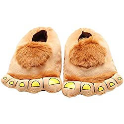 Casa Invierno Zapatos de pantuflas, Zapatillas Zapatos peluche de felpa Monstruo para adulto talla única para todos, 35-42 Amarillo