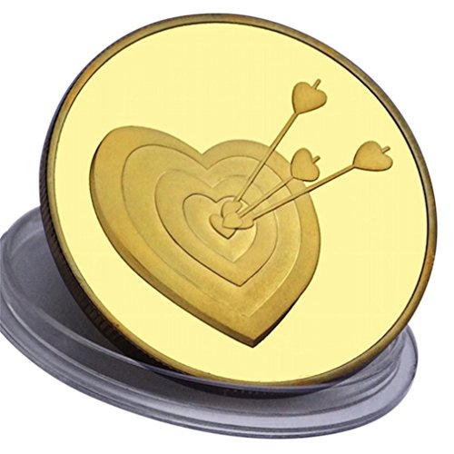iebe Dich - 24 Karat Vergolden - Geschenk für besondere Anlässe für Männer oder Frauen - 1 Oz - 4,0 cm Münzen - Kostenloses Etui und Samt-Geschenkbeutel - Versand durch Amazon (Samt Geldbörse Herz)