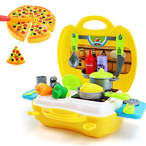 LIVEHITOP 26 PCS Spielzeug Küche Set für Kinder, Klein Küchen Koffer Zubehör Geräte Küchenspielzeug Pizza Essen Lebensmittel Geschirr Plastik Geschenk für Kindertag Madchen Jungen ab 3 Jahr