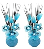 Flourish 797676 813 Matching Pair of Blue Vases with Teal Blue Nylon Artificial Flowers in Vases, Fake Flowers, Ornaments, Small Gift, Home Accessories, 32cm