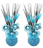 passende Paar Türkis Künstliche Blumen mit Blau Vase, Deko, Wohnaccessoires und Deko geeignet für Bad, Schlafzimmer oder Küche Fenster/ Regal, 32cm