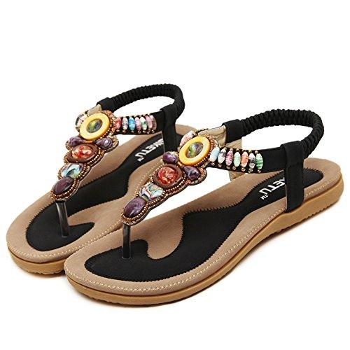 Fortuning's JDS été élastique confortable style bohème perles sandales plates pour les femmes Noir