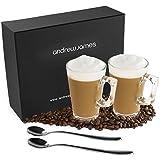 Andrew James Kaffeetassenset | 2 Latte Gläser mit 2 Kaffeelöffeln aus Edelstahl